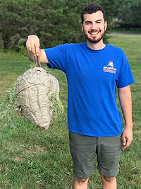 Spartan Animal & Pest Control — Corey Davis holding wasps nest after Massachusetts wasp removal